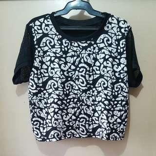 Patterned Crop Top with See-Through Sleeves