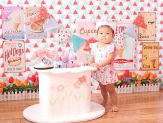 Baby Romper (pink and white) bought from the US Original Price:1,200 Selling Price:500