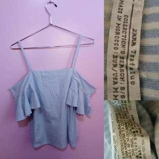 Zara Blue & White Stripe Off Shoulder Frill Top