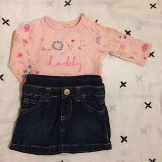 Mothercare Top • Old Navy skirt nb/3mos