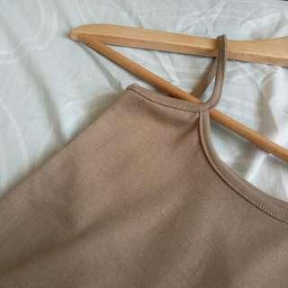 (brand new) sleeveless khaki crop top