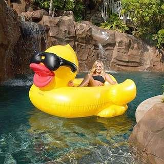 Yellow Duck Float Inflatable Giant Pool Floats Fun Swimming Party Beach Rubber Ducky Sunglass