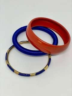 Blue Gold and Coral Bangles
