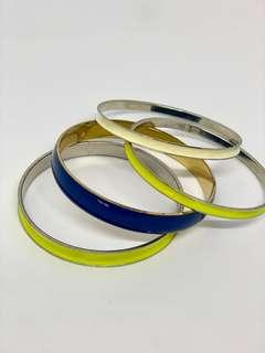 Yellow, Blue and White Bangles