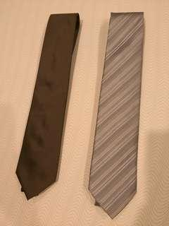Men 2 Neckties Silver and Dark Brown