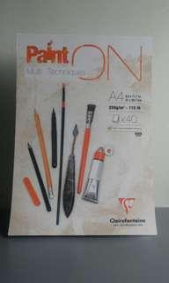 A4 Clairefontaine Sketchpad/Sketchbook with free paint brushes