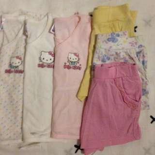 Hello kitty tieside sando • Mothercare shorts 3mos