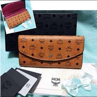 Mcm Color Visetos Cognac Long Flap Wallet