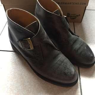 Dr.martens 英國製vintage馬汀大夫黑色真皮壓紋金色扣環短靴