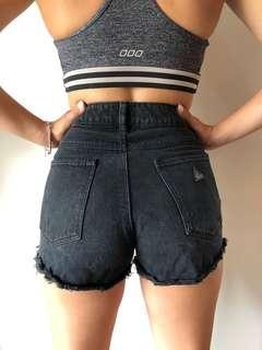 A. Brand Black Distressed High-waisted Denim Shorts