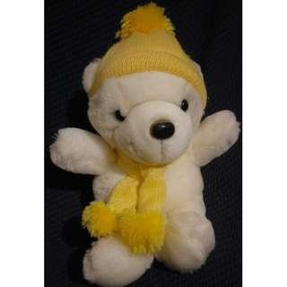 黃色毛帽圍巾熊 絨毛娃娃 玩偶 布偶