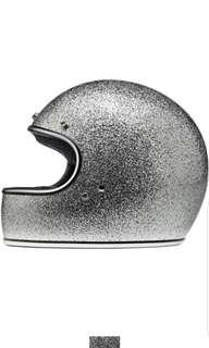 Biltwell Gringo SIZE MEDIUM ONLY Brite Silver Metal Flake Adult Full face Motorcycle motorbike cafe Racer Helmet