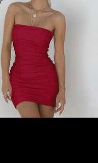 Red strapless ruched dress