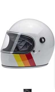 Biltwell Gringo S SIZE MEDIUM AND LARGE ONLY Adult Full face MOTORCYCLE MOTORBIKE CAFE RACER Helmet White Tri-Stripe Yellow Orange Red Stripe