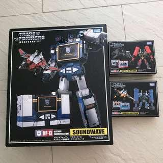 Transformers Masterpiece Soundwave Rumble Jaguar Frenzy Buzzsaw