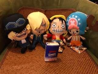 $218包順豐點自取 正版海賊王One Piece毛公仔 全新一套四隻帶吊牌 喬巴山治薩波路飛