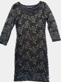 Forever21 black and gold rose body con lace dress