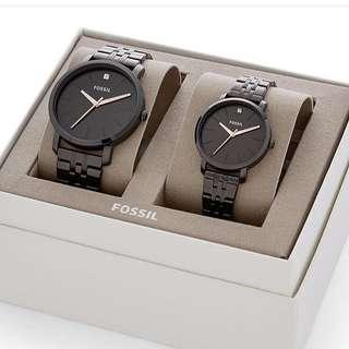 Fossil Watch Couple Set in Black
