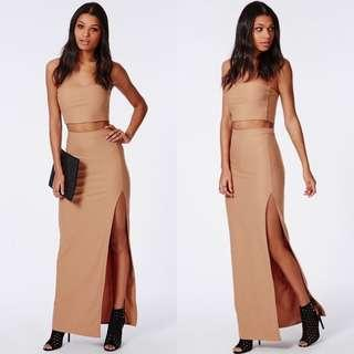 Missguided Thigh High Split Maxi Skirt in Camel