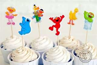 Sesame Street party supplies- cupcake toppers / dessert toppers / party deco