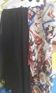 Chiffon long black skirt combo with shawl