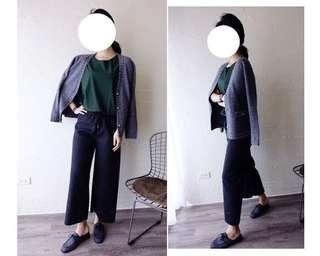 轉賣chan 韓 冬季款呢料超挺手工寬褲。深灰色