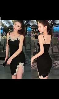 Lace black knitted dress