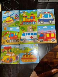 9-pieces wooden puzzle