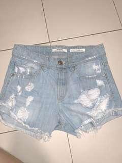 light blue Stradivarius high waist ripped denim shorts