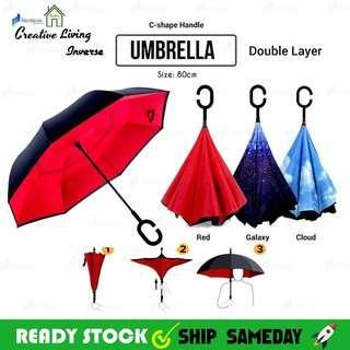 Ready stock inverted reverse double layer Umbrella ☔ c hook