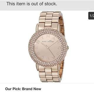 Marc Jacobs March Rose Gold Tone Stainless Steel With Crystal Watch