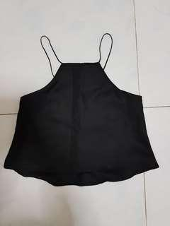 Black lace up Halter crop Top