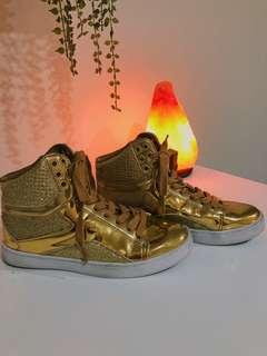 Gold sparkly high tops