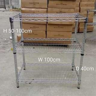 不銹鋼三層架 Stainless steel shelves