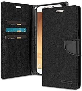 Samsung Galaxy C9 Pro Card Holder Flip Black Cover #CNY888