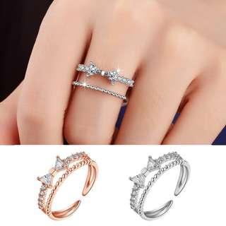 ╭✿蕾兒0509✿╮D004-韓國精工雍容文雅蝴蝶結鋯石開口式戒指指環飾品首飾