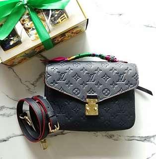 Authentic Louis Vuitton Pochette Metis Red Marine Empreinte Leather