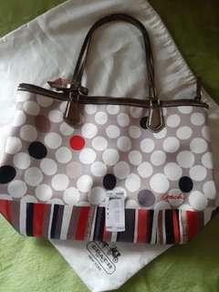 COACH  POPPY POLKA Dot Stripe Sateen & Patent Leather Tote  bag