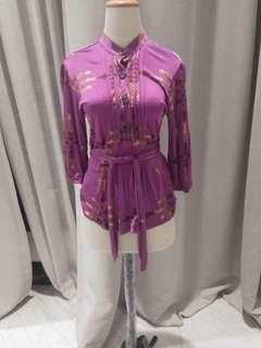 Mara hoffman purple blouse