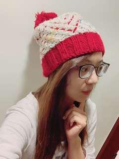 🚚 二手❤️紅色球球保暖毛帽
