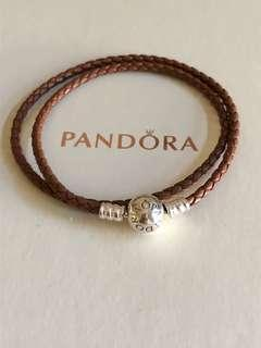 Pandora Brown Leather Bracelet Size 35cm
