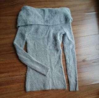 Gray fleece off shoulder sweater