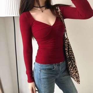 🚚 INSTOCKS Clara wide neck retro Ribbed long sleeve top - maroon red