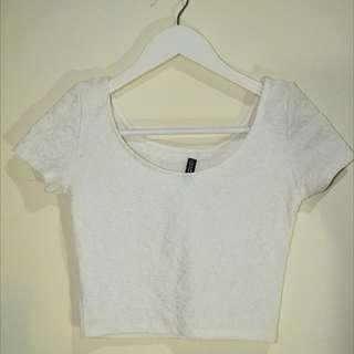HNM white floral crop top - baju putih