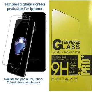 Tempered glass screen protector for Iphone (FREE PHONE CASE)