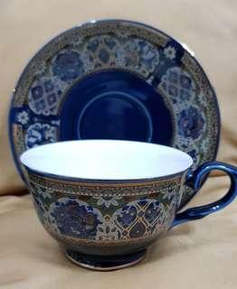 Deep blue middle east styles Cup and saucer x2