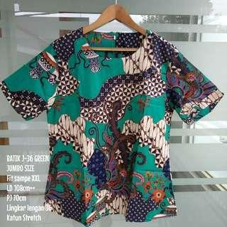 [NEW] BLOUSE BATIK WANITA J-36 GREEN