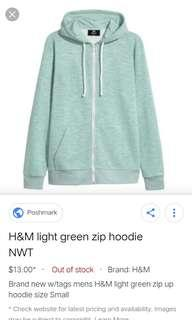 H&M Green Sweater with Hoodie