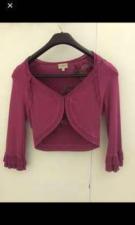 🚚 Karen Miller Fuchsia Crop Sweater Jacket with Embroidery on back