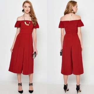 Love and Bravery LAB Ralph Off Shoulder Jumpsuit in Wine